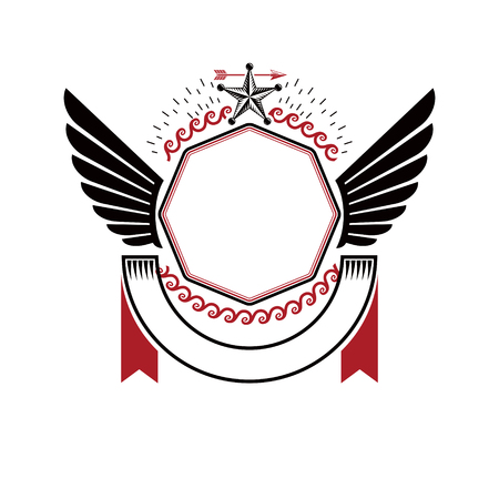 Graphic winged emblem composed using ancient star and laurel wreath. Heraldic vector design element. Retro style label, heraldry logo.
