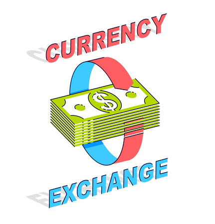 Currency Exchange concept, cash money stack with radial loop arrows around. Vector 3d isometric business and finance illustration, thin line design.