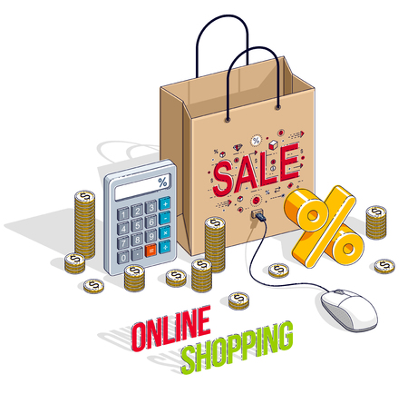 Online Shopping concept, web store, internet sales, Shop bag with pc mouse and cash money stacks and calculator isolated. Vector 3d isometric business and finance illustration.
