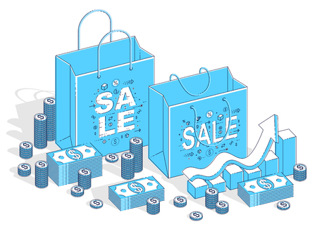 Big Sale concept, Retail, Sellout, Shopping Bag with cash money stacks and growth chart isolated on white background. Vector 3d isometric business and finance illustration, thin line design.