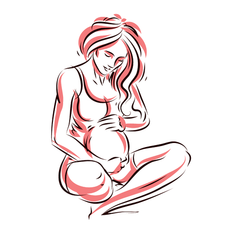 Vector hand-drawn illustration of pregnant elegant woman expecting baby, sketch. Love and fondle theme. Ilustrace