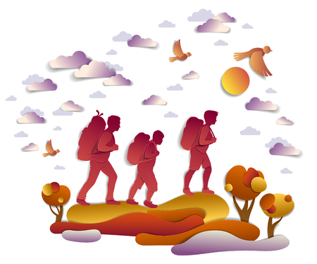 Happy active family hiking in autumn through meadows and fields with trees and birds in the autumnal sky. Father mother and son hikers having time of freedom in nature, vector illustration.