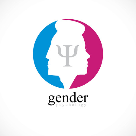 Gender psychology concept created with man and woman heads profiles, vector logo or symbol of relationship problems and conflicts in family, close relations and society. Classic style simple design.