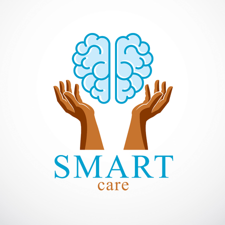 Smart Care concept, vector logo or icon design of human anatomical brain with careful tender and defending hands.