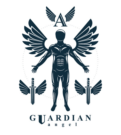 Vector graphic illustration of strong male, body silhouette created with angel wings. Holy Spirit, cupid metaphor. Illusztráció