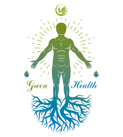 Vector illustration of individual, mystic character composed with tree roots and leaves. Vegetarian lifestyle concept.