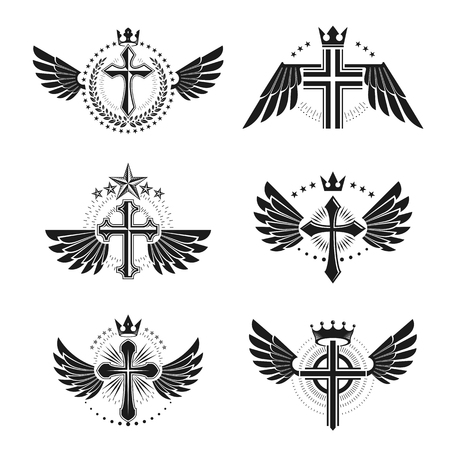 Crosses Religious emblems set. Heraldic Coat of Arms, vintage vector logos collection.