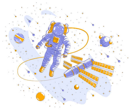 Astronaut flying in open space connected to space station, spaceman floating in weightlessness and spacecraft surrounded by undiscovered planets, stars and comets. Vector illustration isolated.