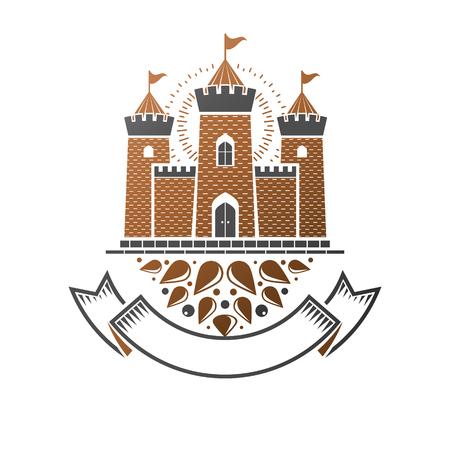 Ancient Citadel emblem. Heraldic vector design element. Retro style label, heraldry logo. Antique logotype on isolated white background. Logo