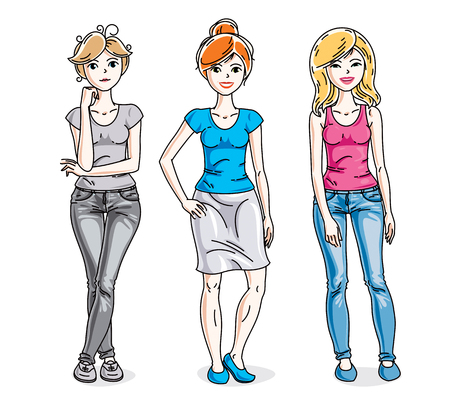 Happy young adult girls group standing wearing casual clothes. Vector people illustrations set.