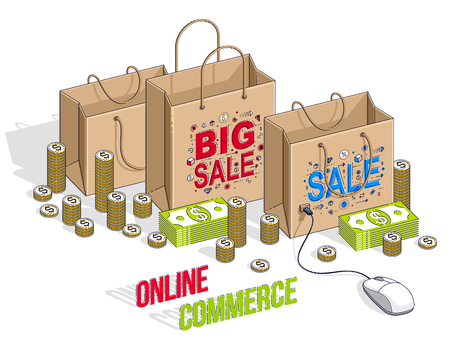 Online Shopping concept, web store, internet sales, Shop bag with pc mouse and cash money stacks isolated on white. Vector 3d isometric business and finance illustration, thin line design. Çizim