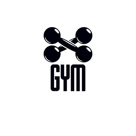 Gym and fitness logo template, vintage style vector emblem. With dumbbell.