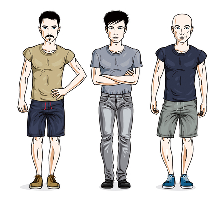 Handsome young men posing in stylish casual clothes. Vector set of beautiful people illustrations. Lifestyle theme male characters.