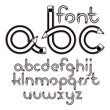 Set of vector lower case English alphabet letters isolated created with pencils, education idea. For use in reporting and journalism. Çizim