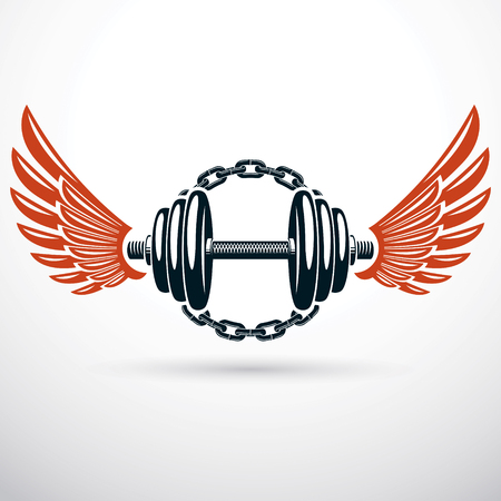 Dumbbell vector illustration with wings and surrounded by iron chain. Fitness workout and power lifting sport equipment.
