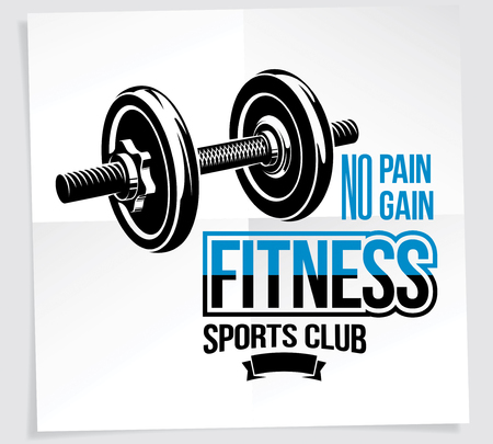 Sports club vector promotion card composed using disc weight dumb-bell sport equipment. No pain no gain writing. Illustration