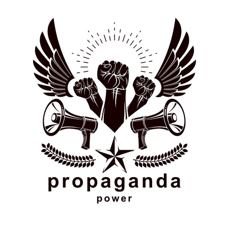 Vector advertising poster created using clenched fists raised up, bird wings and loudhailer equipment. Propaganda as the means of manipulation and control. Illustration