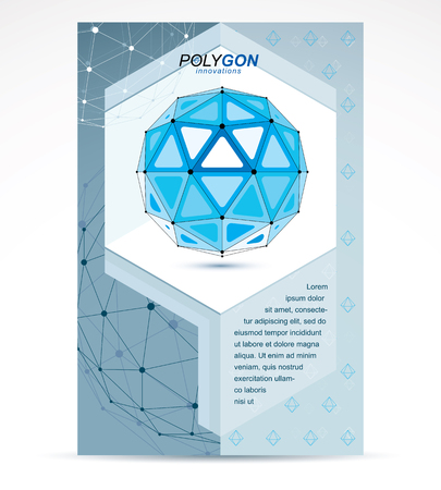 Computer engineering business modern marketing presentation poster. Vector abstract 3d blue geometric shape, polygonal figure.