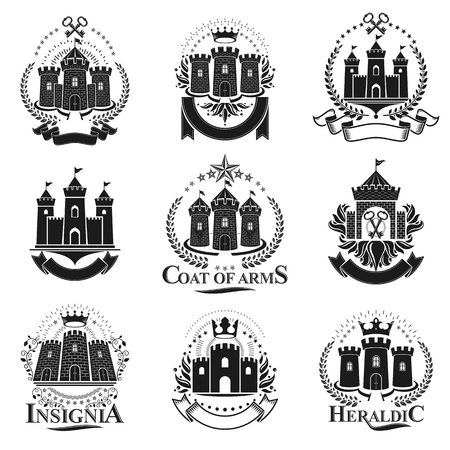 Ancient Citadels emblems set. Heraldic vector design elements collection. Retro style label, heraldry logo.
