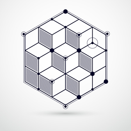 Abstract geometric vector black and white background with cubes and other elements. Composition of cubes, hexagons, squares, rectangles and abstract elements. Perfect background for your designs Illustration