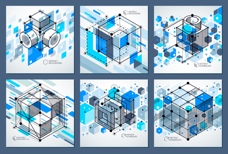 Engineering technology vector blue wallpapers set made with 3D cubes and lines. Engineering technological wallpaper made with honeycombs. Abstract technical background. Illustration