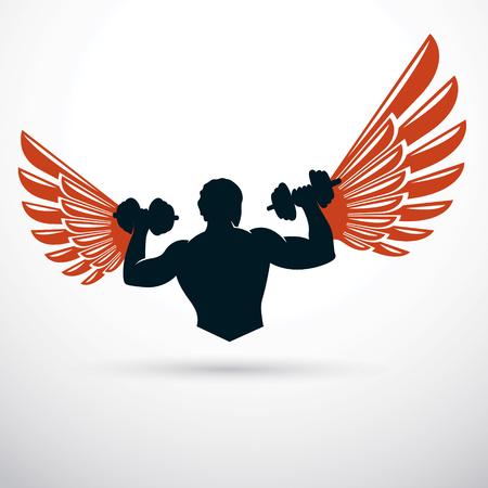 Vector illustration of muscular bodybuilder holding dumbbell. Champion body silhouette.