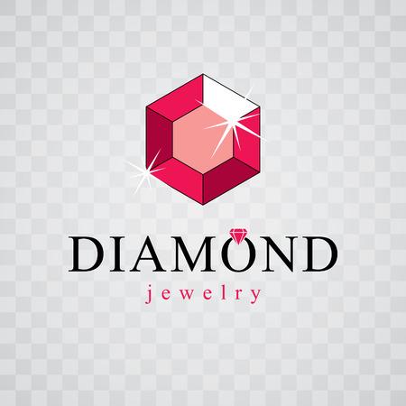 Vector luxury faceted decorative element. Glossy diamond sign emblem, logo. Brilliant jewelry illustration. Logos