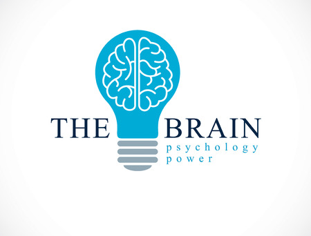 Psychology vector logo or icon with human anatomical brain inside of idea light bulb.