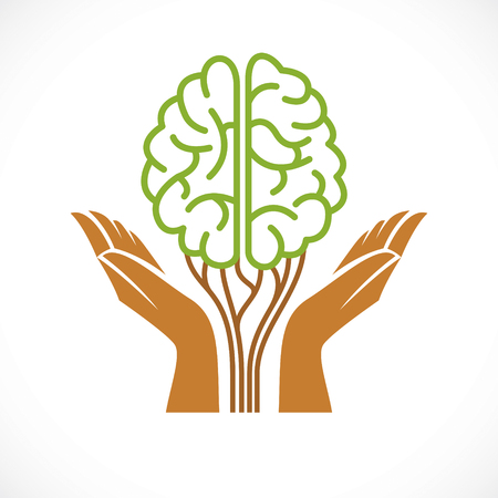 Mental health and psychology concept, vector icon or logo design. Human anatomical brain in a shape of green tree with tender guarding hands, growth and heyday of personality and individuality. Иллюстрация