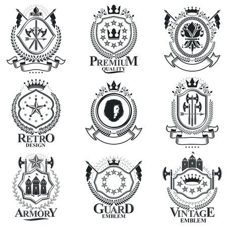Heraldic Coat of Arms, vintage vector emblems. Classy high quality symbolic illustrations collection, vector set. Ilustración de vector