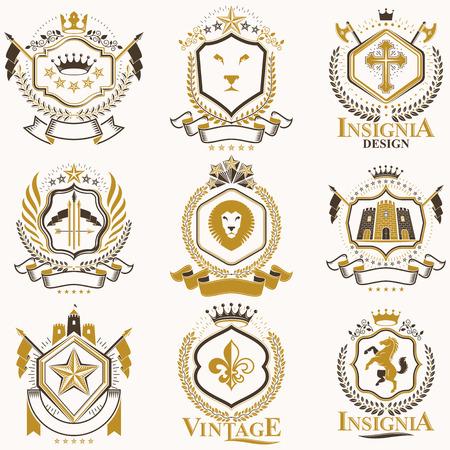 Vector elegante escudo heráldico. Colección de blasones estilizados en diseño vintage y creados con elementos gráficos, coronas y banderas reales, estrellas, torres, armerías, cruces religiosas. Ilustración de vector