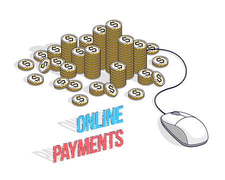 Online finance concept, web payments, internet earnings, online banking, cash money stacks with computer mouse connected to piles. Isometric 3d vector business and finance illustration.