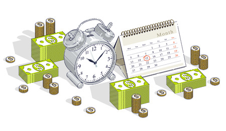 Deadline concept, table Alarm Clock and Calendar with cash money stacks and coin piles isolated on white background. Isometric vector business and finance illustration, 3d thin line design. Vettoriali