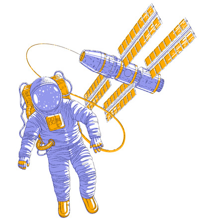 Astronaut went out into open space connected to space station, spaceman floating in weightlessness spacecraft with solar panels behind him. Vector illustration isolated over white. Illustration