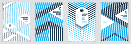 Minimalistic brochure designs. Vector geometric patterns abstract backgrounds set. Design templates for flyers, booklets, greeting cards, invitations and advertising. A4 print format.