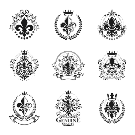 Lily Flowers Royal symbols emblems set. Heraldic Coat of Arms decorative logos isolated vector illustrations collection.