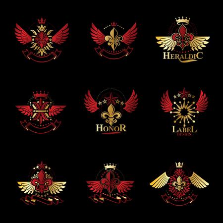 Symboles royaux Fleurs de Lys, fleurs et couronnes, ensemble d'emblèmes. Collection d'éléments de conception de vecteur héraldique. Étiquette de style rétro, logo héraldique.