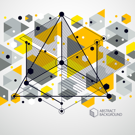 Lines and shapes abstract vector isometric 3D yellow background. Abstract scheme of engine or engineering mechanism. Layout of cubes, hexagons, squares, rectangles and different abstract elements. Illustration