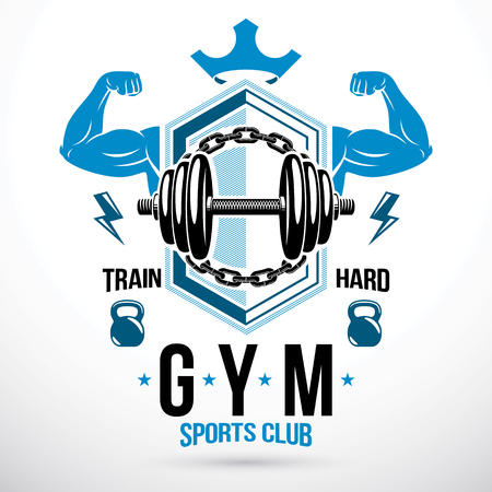 Disc weight dumbbell surrounded by steel chain and composed with muscular athletic biceps arms. Weightlifting club conceptual vector emblem