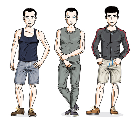 Handsome young men standing wearing stylish sport clothes. Vector set of beautiful people illustrations.