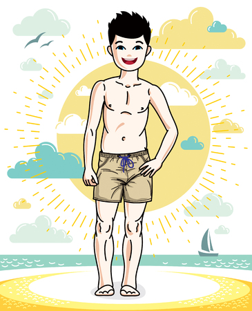 Cute little boy child standing in colorful stylish beach shorts. Vector attractive kid illustration. Fashion theme clipart. 向量圖像