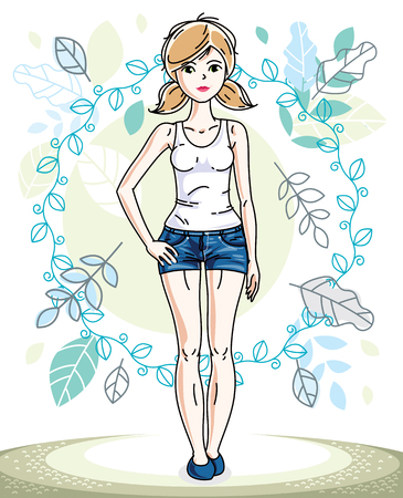 Happy pretty young blonde woman standing on background of spring landscape and wearing fashionable casual clothes. Vector character.