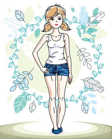 Heureuse jolie jeune femme blonde debout sur fond de paysage de printemps et portant des vêtements décontractés à la mode. Caractère de vecteur.