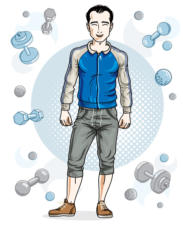 Happy brunet young adult man standing on simple background with dumbbells and barbells. Vector character, sport and fitness theme. Illusztráció