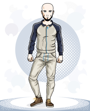 Confident handsome bald young sporty man standing. Vector illustration of male with beard and wearing sport clothes, sport style.