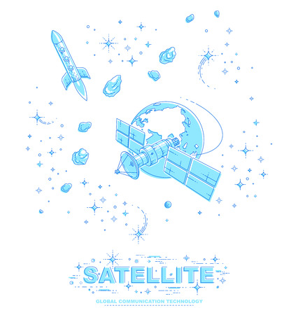 Satellite flying orbital flight around earth, communication technology spacecraft space station with solar panels and satellite antenna plate, with rockets, stars and other elements. Vector.