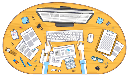 Business analysis, office worker or entrepreneur businessman working on a PC computer and papers with financial analytics, top view of work desk with stationery and documents and hands. Vector.