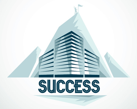 Modern architecture business office building in front of Rock Climber as a concept of career path. Reaching goal of success conceptual illustration. Real estate realty center. Vector design.
