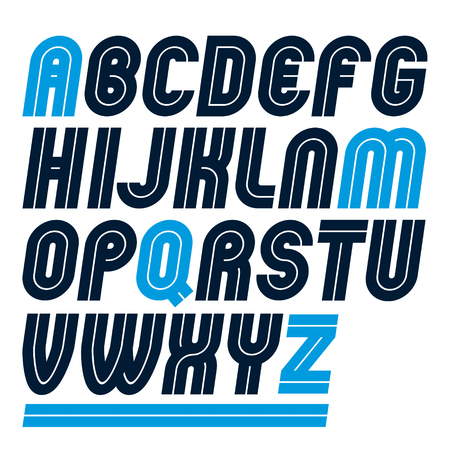 Set of vector rounded bold capital alphabet letters made with white lines, can be used in poster creation for social or commercial announcement Ilustração