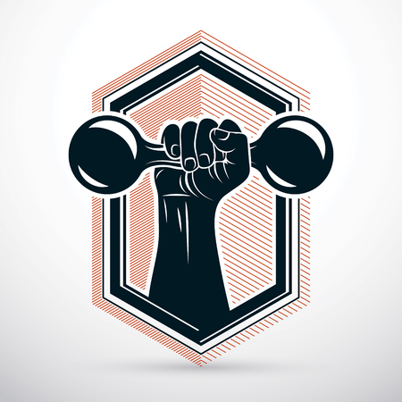 Vector illustration of strong man biceps arm holding dumbbell. Weight lifting